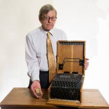 Dr Baldwin with his Enigma Machine