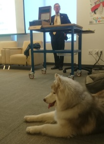 In Silicon Valley, even the dogs attend Enigma Machine lectures! Speaking at Kitty Hawk Zee.aero, Mountain View USA, Feb 2018