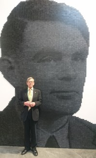 Inside Facebook HQ: a giant rendition of Alan Turing made from dominoes