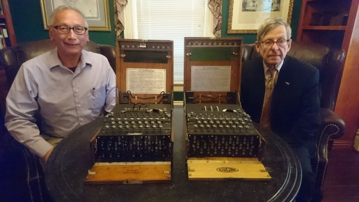 Enigma x 2! Ralph Simpson of The Cypher History Musuem (San Jose), with Dr Enigma - each with their personal Enigma machines