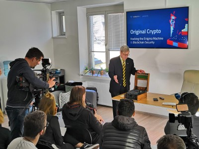 TV Cameras rolling at Verity's office in Ljubljana, Slovenia, Sep 2018