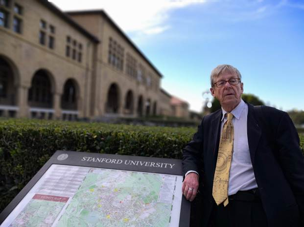 At Stanford University, California, giving a lecture for the Computer Science course, Oct 2018