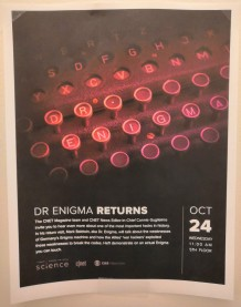 Poster advertising the return of Dr Enigma to CNET, San Francisco, Oct 2018