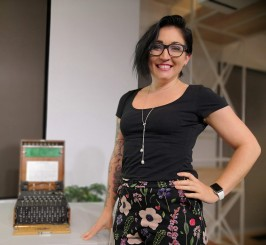 Vivienne Pustell of Slack, Risk & Compliance Team) with the Enigma Machine, San Francisco, Oct 2018